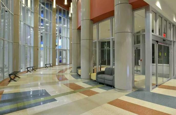 写字楼大厅环氧磨石地坪,北京航特的艾特石E系列值得您的选择!