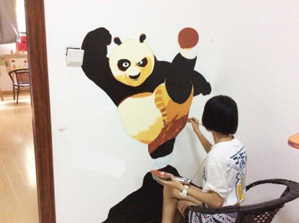 航特学校防涂鸦墙面漆让墙面直接当画板!