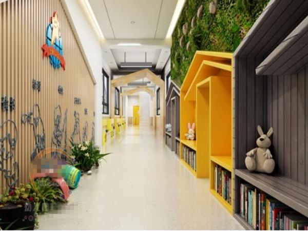 幼儿园走廊地面地板和墙面翻新养护怎么设计比较好-航图片